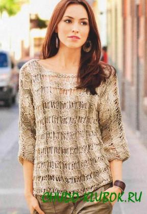 пуловер  спущенные петли