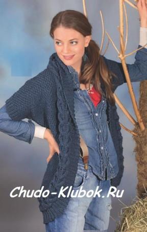 Синий жакет с короткими рукавами