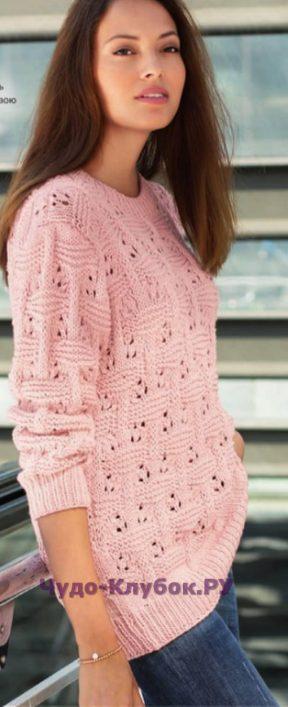 1051 Пуловер с плетеным узором